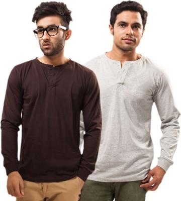 Unisopent Designs Solid Men's Henley Brown, Grey T-Shirt