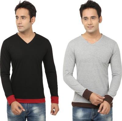 Jangoboy Solid Men,s V-neck Black, Grey T-Shirt