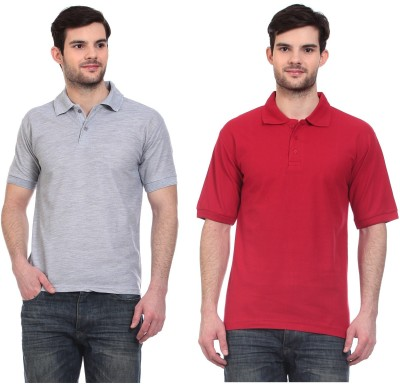 Blue-Tuff Solid Men,s Polo Neck Grey, Red T-Shirt