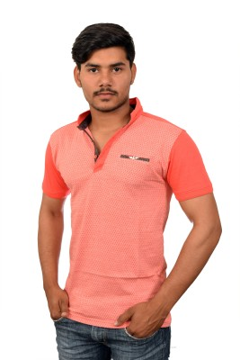YOUTH & STYLE Argyle Men's Polo Neck Pink T-Shirt