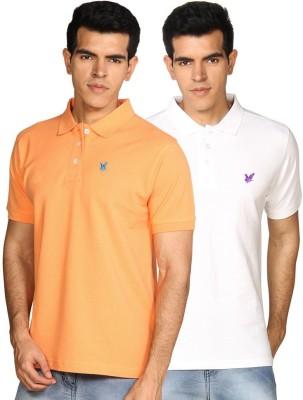 Provogue Solid Men's Polo Neck White, Pink T-Shirt