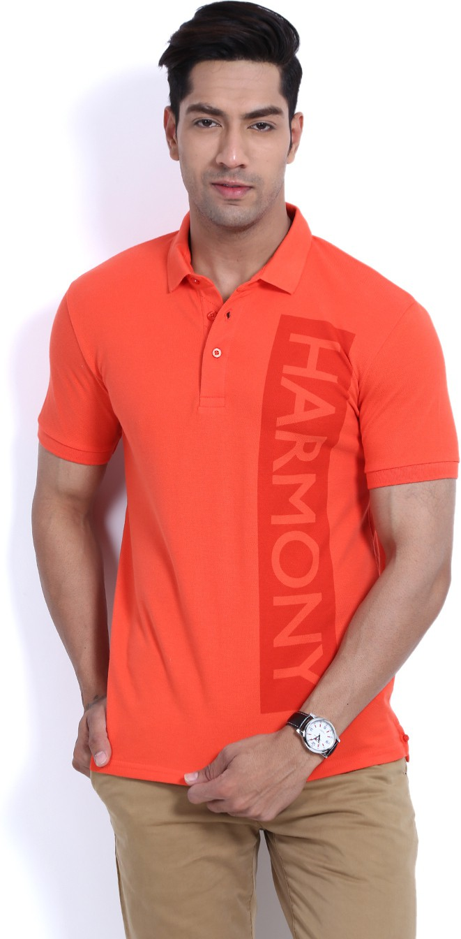 United Colors of Benetton Printed Men's Polo Neck Orange T-Shirt