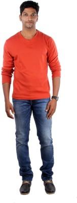 Indian Terrain Solid Men's Round Neck Orange T-Shirt