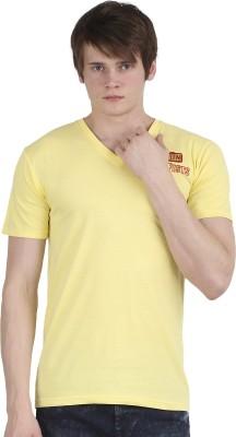 Tease Denim Embroidered Men's V-neck Yellow T-Shirt