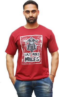 Royal Bikers Graphic Print Men's Round Neck Maroon T-Shirt