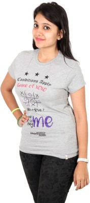 Unofficial Apparel Retails Printed Women's Round Neck Grey T-Shirt
