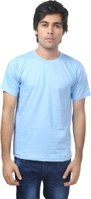 Louis Mode Solid Men's Round Neck Light Blue T-Shirt