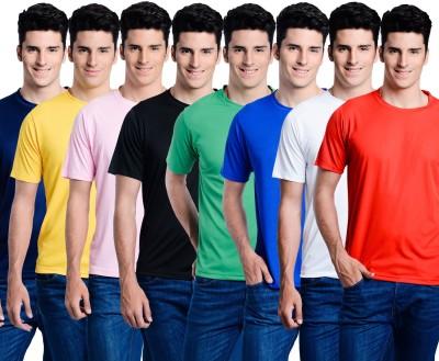 Superjoy Solid Men's Round Neck Black, Red, Pink T-Shirt