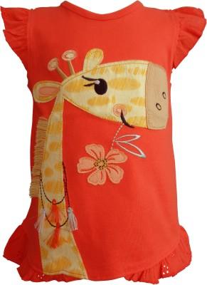 teddy's choice Solid Baby Girl's Round Neck Orange T-Shirt