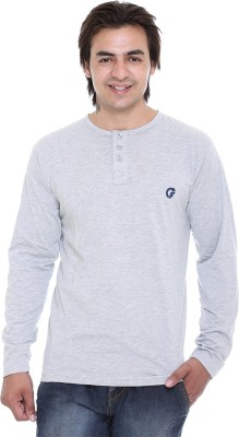 AVE Solid Men's Henley Grey T-Shirt
