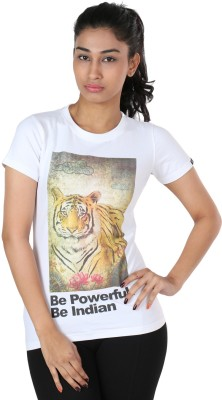 The Indian Graphic Print Women's Round Neck White T-Shirt