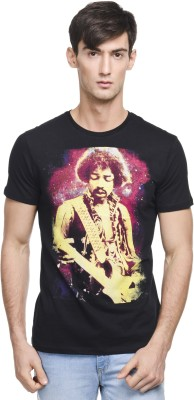Jimi Hendrix Printed Men's Round Neck Black T-Shirt