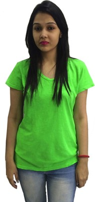 TRENDIEZ Solid Women's V-neck Green T-Shirt