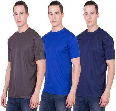 Randier Solid Men's Round Neck Grey, Blue, Dark Blue T-Shirt