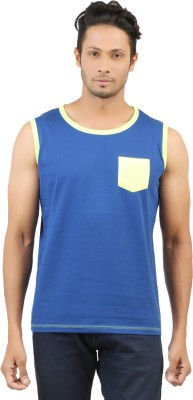 fashion4u Solid Men's Round Neck Blue T-Shirt