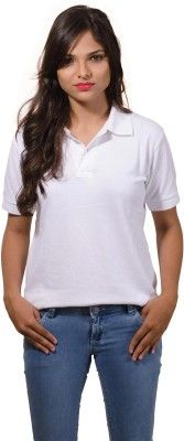 One11 Solid Women's Polo Neck T-Shirt