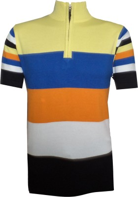 Tick Lish Striped Men's Mock Neck Yellow, Blue, Orange, White, Black T-Shirt