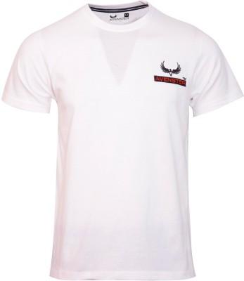 Avenster Solid Men's Round Neck White T-Shirt