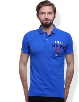 GOINDIASTORE Solid Men's Polo Neck Blue T-Shirt
