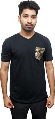 Funkd Printed Men's V-neck Black T-Shirt