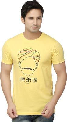 Hattha Embroidered Men's Round Neck Yellow T-Shirt