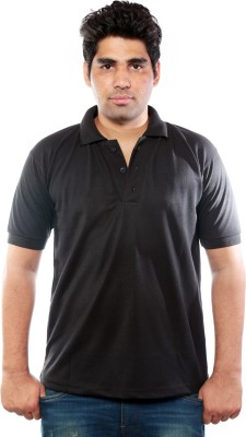 M.F. Fashion Solid Men's Polo Neck Black T-Shirt
