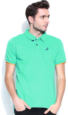 Jn Joy Solid Men's Polo Neck Green T-Shirt