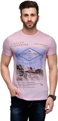 Ausy Solid, Printed Men's Round Neck Pink T-Shirt