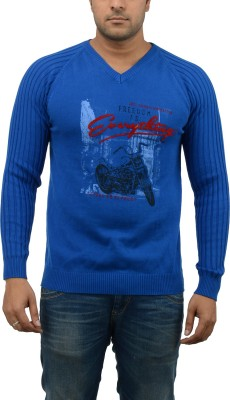 Blue Heaven Printed Men's V-neck T-Shirt