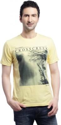 Cross Creek Printed Men's Round Neck Yellow T-Shirt