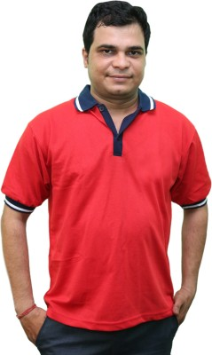 CRYSTAL Solid Men's Flap Collar Neck Red T-Shirt