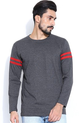 Hubberholme Solid Men's Round Neck Red, Grey T-Shirt