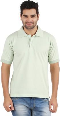 Gnj Solid Men's Polo Neck Light Green T-Shirt