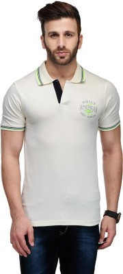 Ausy Solid Men's Polo White T-Shirt