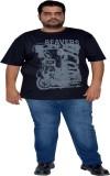XMEX Printed Men's Round Neck Black T-Sh...