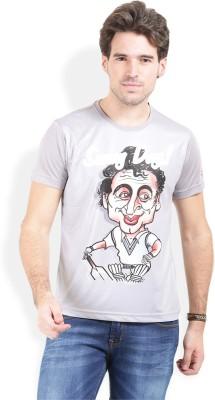 Broken News Printed Men's Round Neck Grey T-Shirt