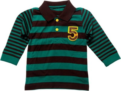 Babyaddis Striped Baby Boy's Flap Collar Neck Green T-Shirt