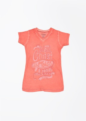Cherokee Kids Printed Girl's V-neck Pink T-Shirt