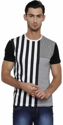 Crux&Hunter Striped Men's Round Neck White T-Shirt