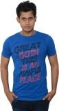 Lampara Printed Men's Round Neck Blue T-...