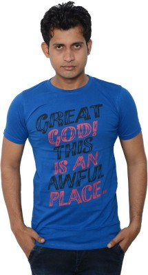Lampara Printed Men's Round Neck Blue T-Shirt