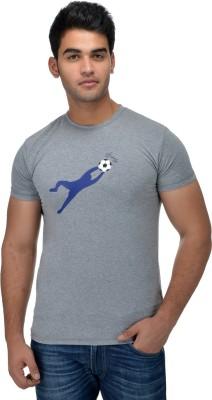 Surly Printed Men's Round Neck Grey, Blue T-Shirt