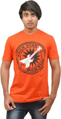 RED N HOT Graphic Print Men's Round Neck Orange, Red T-Shirt
