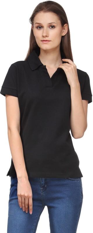 Scott International Solid Women's Polo Neck Black T-Shirt