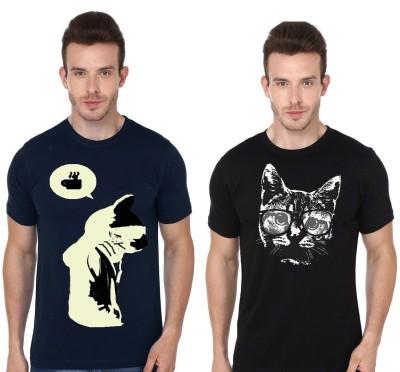 Madink Animal Print Men's Round Neck Multicolor T-Shirt