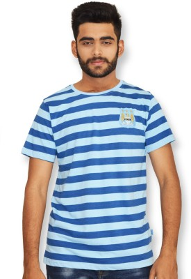 Manchester City FC Striped Men,s Round Neck Light Blue T-Shirt