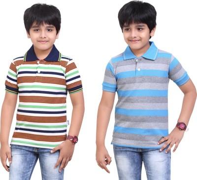 Dongli Striped Baby Boy's Polo Neck Dark Green, Light Blue T-Shirt