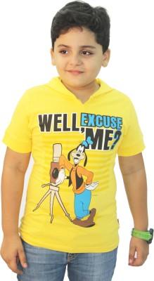 Disney Graphic Print Boy's Hooded Yellow T-Shirt
