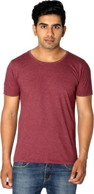 Style Connect Solid Men's Scoop Neck Maroon T-Shirt