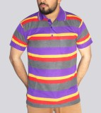 GouGas Striped Men's Polo Neck Purple T-...